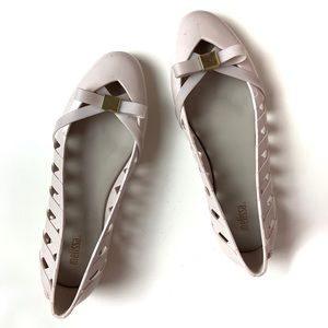 Melissa Light Pink Jelly Bow Weave Flat Shoes